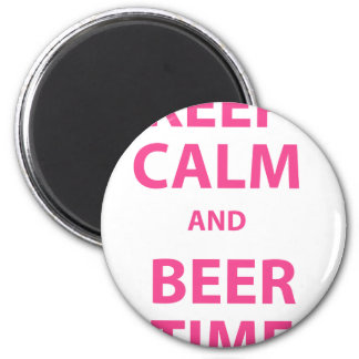Keep Calm and Beer Time 2 Inch Round Magnet