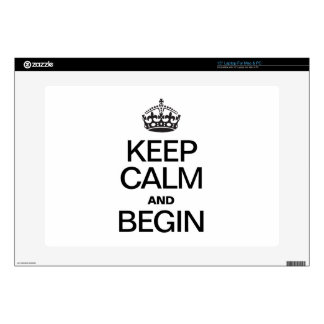 "KEEP CALM AND BEGIN DECAL FOR 15"" LAPTOP"