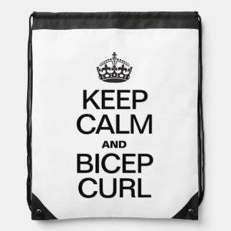 KEEP CALM AND BICEP CURL DRAWSTRING BAGS