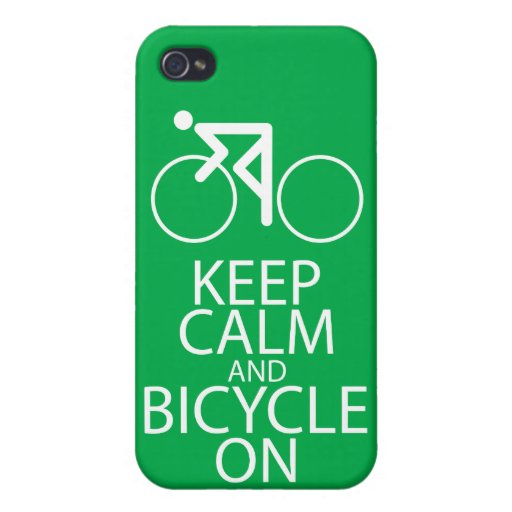 Keep Calm and Bicycle On Print Bike Art Gift Green Cover For iPhone 4