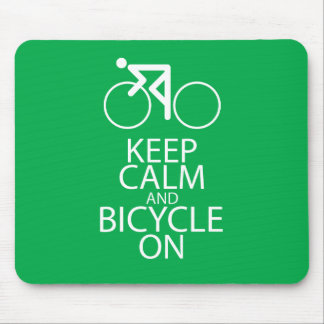 Keep Calm and Bicycle On Print Bike Art Gift Green Mouse Pad