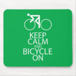 Keep Calm and Bicycle On Print Bike Art Gift Green Mouse Pads