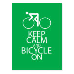 Keep Calm and Bicycle On Print Bike Art Gift Green Post Cards