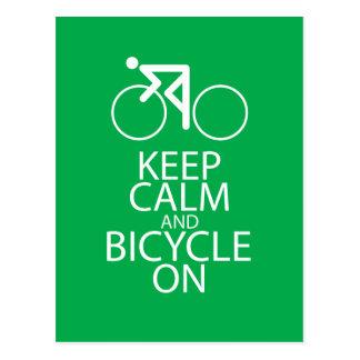 Keep Calm and Bicycle On Print Bike Art Gift Green Postcard