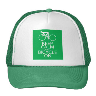 Keep Calm and Bicycle On Print Design Green Gift Hat