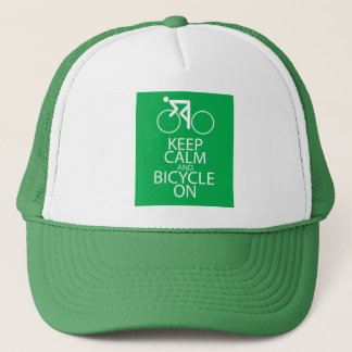 Keep Calm and Bicycle On Print Design Green Gift Trucker Hat