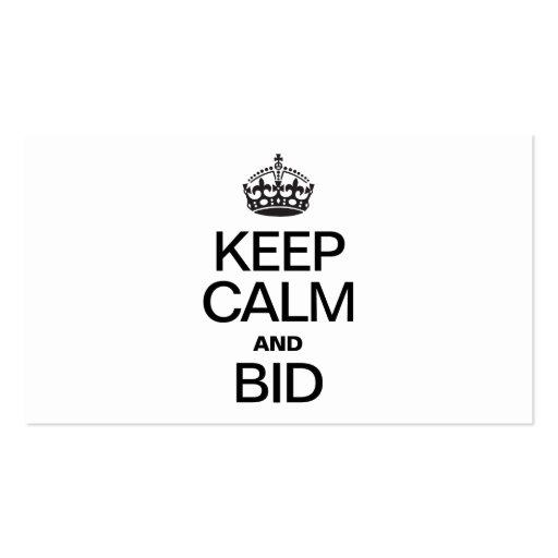 KEEP CALM AND BID BUSINESS CARDS