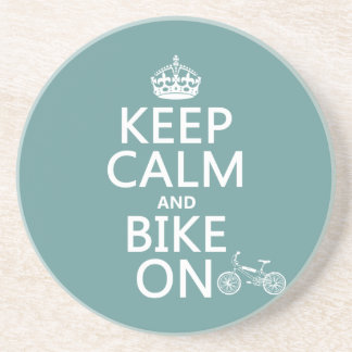 Keep Calm and Bike On (any color) Beverage Coasters