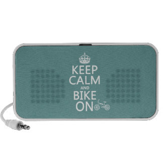 Keep Calm and Bike On any color Portable Speakers
