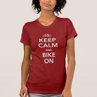 Keep Calm and Bike On, white design T-shirts