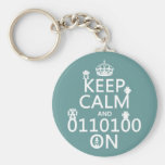 Keep Calm and (Binary) On (robots)(any color) Basic Round Button Keychain