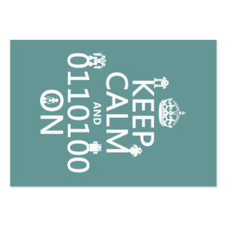 Keep Calm and (Binary) On (robots)(any color) Large Business Cards (Pack Of 100)