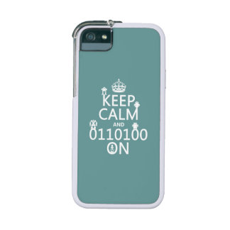 Keep Calm and (Binary) On (robots)(any color) Cover For iPhone 5