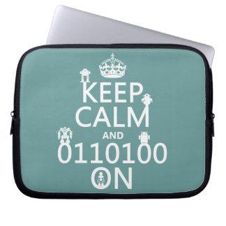 Keep Calm and (Binary) On (robots)(any color) Computer Sleeve