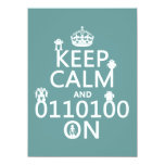 Keep Calm and (Binary) On (robots)(any color) 5.5x7.5 Paper Invitation Card