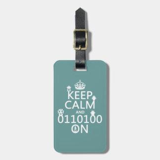 Keep Calm and (Binary) On (robots)(any color) Travel Bag Tags