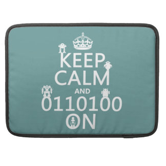 Keep Calm and (Binary) On (robots)(any color) MacBook Pro Sleeve
