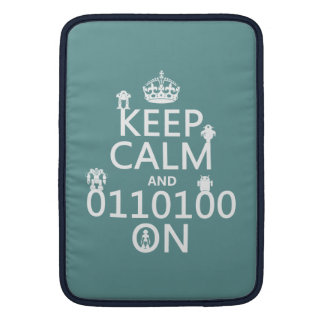 Keep Calm and (Binary) On (robots)(any color) MacBook Sleeve