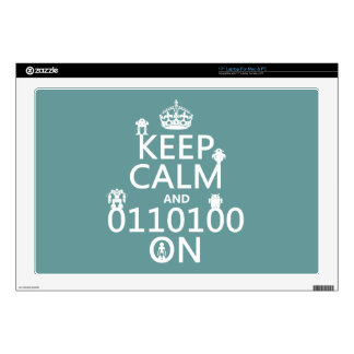 Keep Calm and (Binary) On (robots)(any color) Skin For Laptop