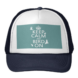 Keep Calm and Bird On (any background color) Mesh Hats