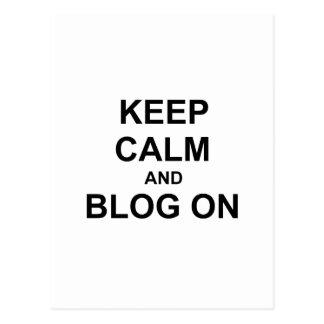 Keep Calm and Blog On black gray blue Postcard