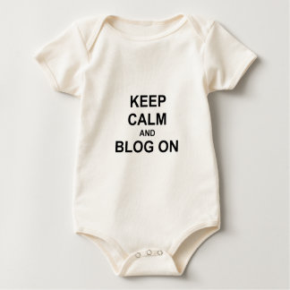 Keep Calm and Blog On black gray blue Romper