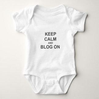Keep Calm and Blog On black gray blue T Shirt