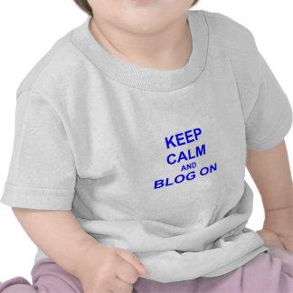 Keep Calm and Blog On black gray blue Tshirt