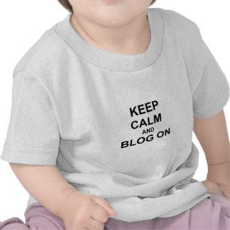 Keep Calm and Blog On black gray blue Tees