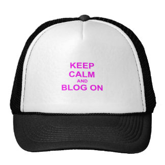 Keep Calm and Blog On orange pink red Mesh Hats