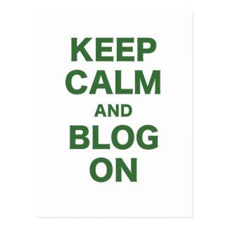 Keep Calm and Blog On Postcard