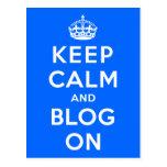 Keep Calm and Blog On Postcards