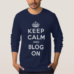 Men's American Apparel Fine Jersey Long Sleeve T-Shirt with Keep Calm and Blog On design