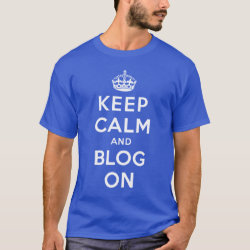Men's Basic Dark T-Shirt with Keep Calm and Blog On design