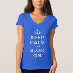 Keep Calm and Blog On Women's Bella+Canvas Jersey V-Neck T-Shirt