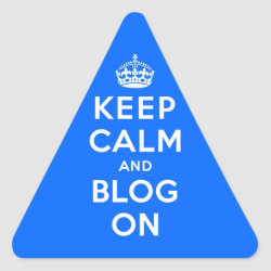 Triangle Sticker with Keep Calm and Blog On design