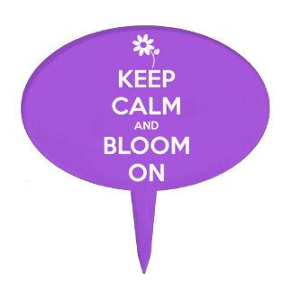 Keep Calm and Bloom On Purple Cake Picks