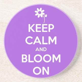 Keep Calm and Bloom On Purple Drink Coaster