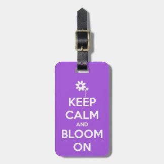 Keep Calm and Bloom On Purple Luggage Tag