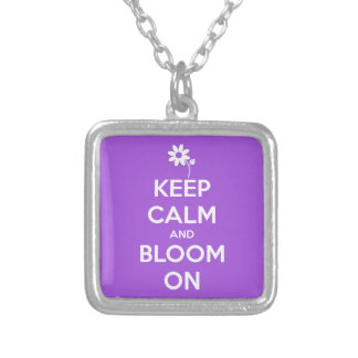 Keep Calm and Bloom On Purple Square Pendant Necklace