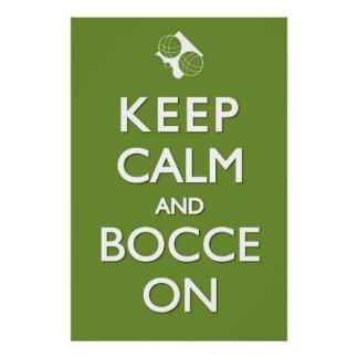 Keep Calm and Bocce Green Solid 24 x 36 Print
