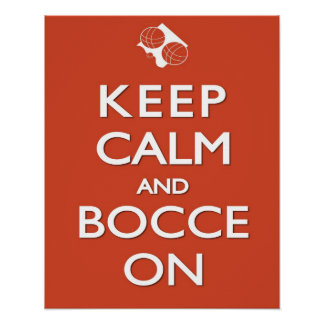 Keep Calm and Bocce Red Solid 16 x 20 Print