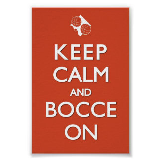 Keep Calm and Bocce Red Solid 4 x 6 Print