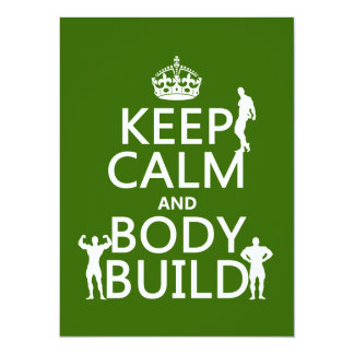 Keep Calm and Body Build (customize background) 5.5x7.5 Paper Invitation Card