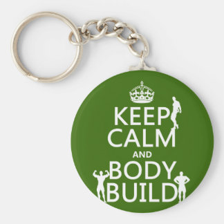 Keep Calm and Body Build (customize background) Basic Round Button Keychain