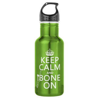 Keep Calm and 'Bone On (trombone - any color) Stainless Steel Water Bottle