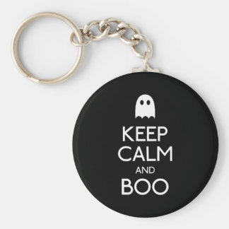 Keep calm and boo ghost key chains