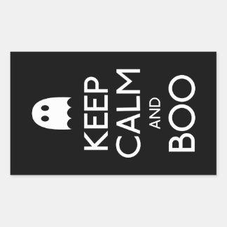 Keep calm and boo ghost rectangular sticker
