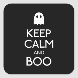 Keep calm and boo ghost square sticker