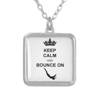 Keep Calm and Bounce Trampoline Silver Plated Necklace